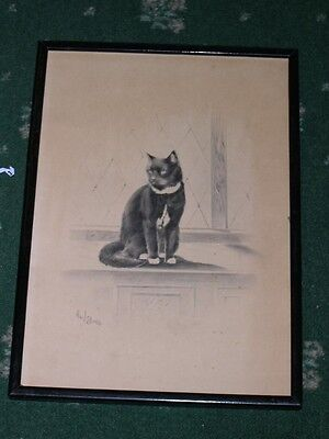 LARGE ANTIQUE ORIGINAL CAT DRAWING BY H.W. HELLINGS 1918