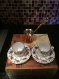 Beautiful AKIDE Porcelain Turkish Coffee Set in Original Wooden Box