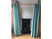 Next duck egg blue blackout ring top curtains