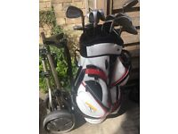 Power Caddy Golf Bag, Full Set Mens Irons 2 Putters and Slazenger Trolley