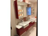 Matching bathroom cabinets+ 2 sinks + 2 taps + corian worktop