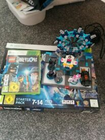 Lego dimensions starter pack for Xbox 360, game, portal and figures.