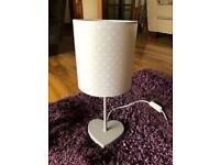 Next Girls lilac love heart lamp and shade
