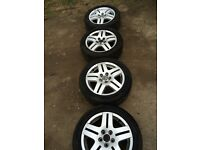 X4 Volkswagen Golf GTI MK4 set of alloy wheels with 4 very good tyres 5 stud 195 50 15 15""