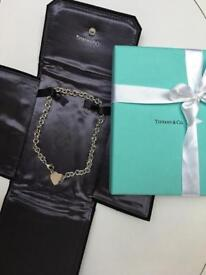 Authentic Return To Tiffany Heart Choker With Presentation Wallet And Box