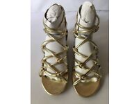 Topshop Hendon Gold Sandals UK 2 NEW