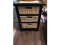 Painted wicker drawers