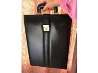 SLIM BLACK LEATHER BRIEFCASE, USED ONLY 2/3 TIMES SO EXCELLENT CONDITION