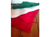felt fabric, red, white, green