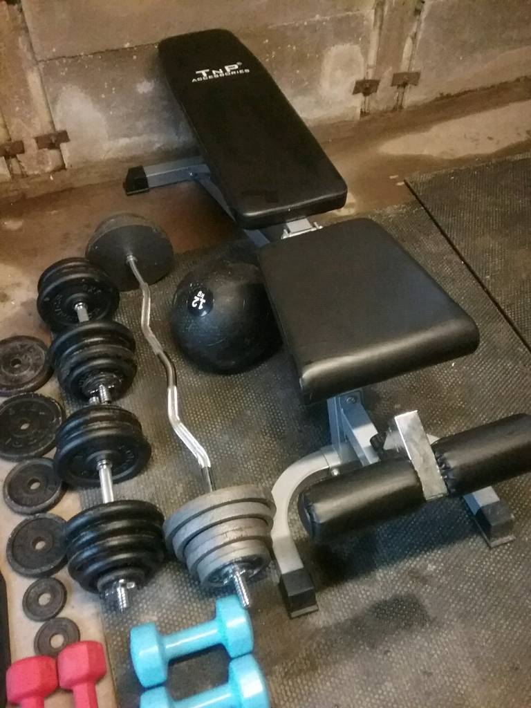 Weights and weight bench over 150kg