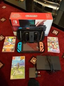 Nintendo Switch with Games, Carry Case