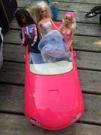 Barbie car with dolls