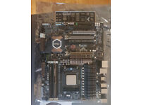 Computer Parts including AMD Processor, Motherboard, RAM and CPU fan