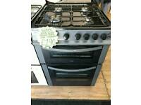 LOGIK BLACK 60CM WIDE DOUBLE OVEN FULL GAS COOKER