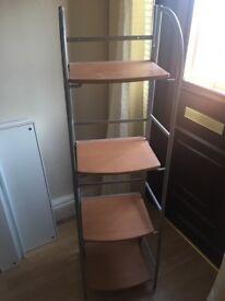 Light wood & metal shelving unit