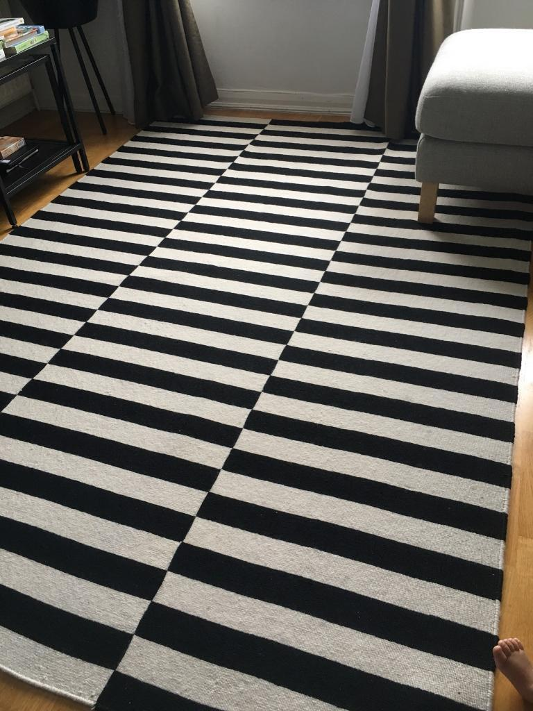 Ikea Stockholm Black White Cream Striped Wool Rug