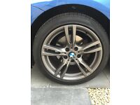 """BMW 18"""" F30 M-sport alloys, set of 4, staggered fit, genuine with Pirelli tyres, immaculate"""
