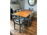 Upcycled solid wood oak table and six chairs, four pale grey and two grey carvers