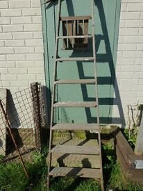 OLD WOODEN PAINTERS LADDER 7' TALL IDEAL SHELF PROJECT