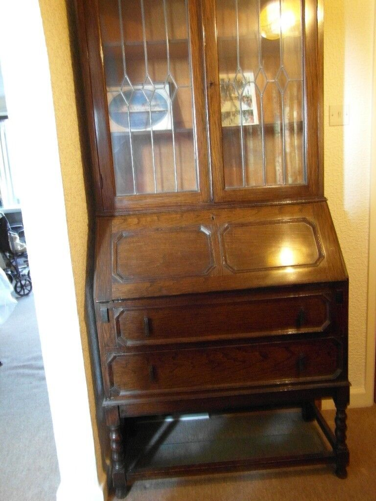 Antique Bureau With Glass Front Bookcase Above Can Deliver In Southampton Hampshire Gumtree