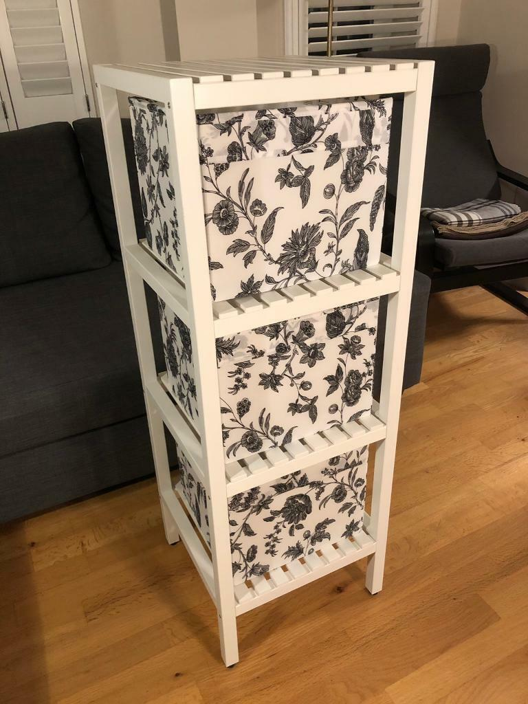 ikea muskan shelving unit white incl 3 boxes in. Black Bedroom Furniture Sets. Home Design Ideas