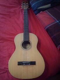 "Classical guitar ""Fender"" 3/4 and guitar case ""Fender"" with shoulder straps."
