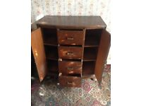 Traditional Solid Wood Cabinet / Chest of Drawers & Corner Wooden Wall Cabinet with Shelves