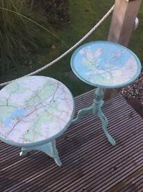 Decoupaged wine tables