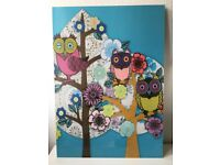 Owl print picture wall art poster, Helen Musselwhite, decorative - large
