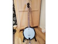 boston banjo 5 string excellent condition with stand