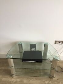 John Lewis Clear Glass TV Stand - in excellent condition