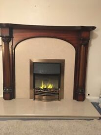 Solid marble hearth and surround