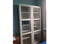 IKEA white shelving unit / display unit / bookcase / shelves, with glass doors
