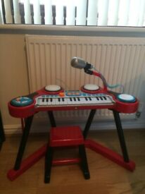 Early Learning Centre Keyboard Key-Boom-Board with stand and stool. Barely used, great condition.