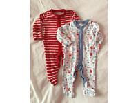 2x Newborn Babygrows