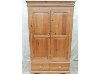 Large Pine country wardrobe with drawers (Delivery)