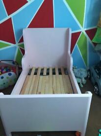 Pink ikea busunge bed, wardrobe and chest of drawers set