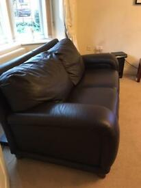 DFS Brown leather settees 2-seat & 3-seat