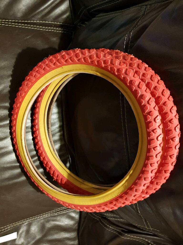 """Pair (x2) of 16"""" red gumwall BMX or Mountain bike cycle tyres"""