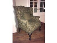 Wing Back Chair with Ball and Claw Front Feet