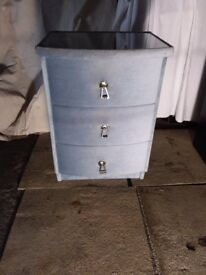Blue velvet vintage bedside table