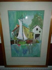 ORIGINAL WATER COLOUR OF SAILING BOATS IN THE HARBOUR,