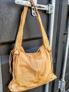 Oakville Vintage Real Leather Shoulder Bag  Made in Canada yellow light blonde Robert Anthony Designer