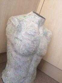 Fibreglass male mannequin torso with vintage map detail