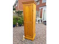 Solid Antique Pine Wood Single Child's Wardrobe / Kitchen Pantry Larder Cupboard