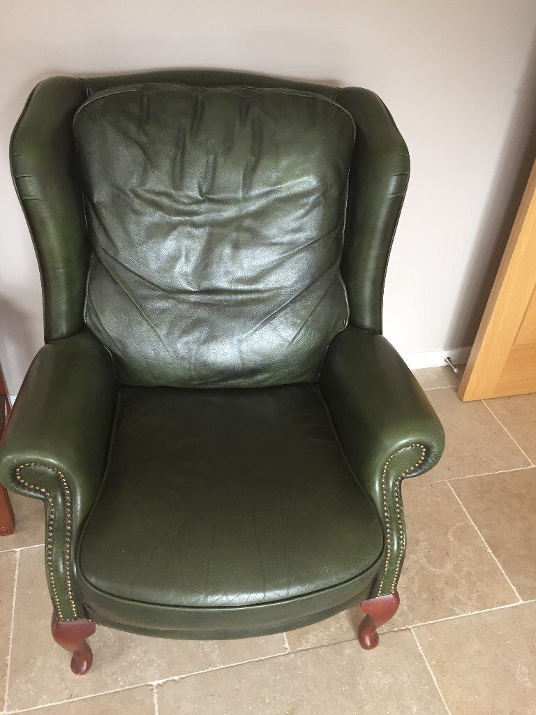 Excellent Green Leather Wing Back Chair In Launceston Cornwall Gumtree Camellatalisay Diy Chair Ideas Camellatalisaycom