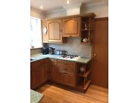Wooden kitchen with creda gas hob and double oven. All to be removed on Saturday 12th May. oven.