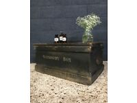 Vintage Antique Stationary Box Chest Trunk Coffee Table