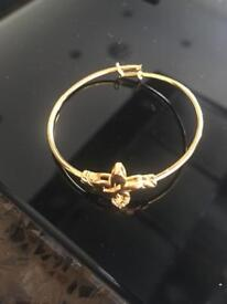 22k Gold Plated Hallmarked Baby Bangle/Bracelet
