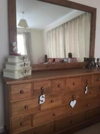 Chunky 19-drawer dresser unit and mirror
